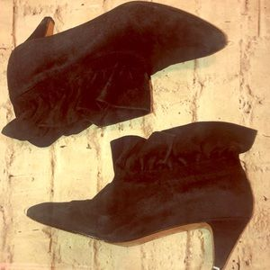 YSL Ruffle bootie suede heel ankle boots Sz 7